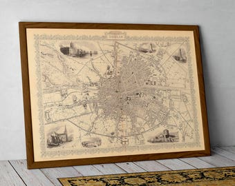 Map of Dublin, Historical map of Dublin, Ireland | Fine Art Print of Dublin, Ireland –Irish Historical Town Plan Print Poster