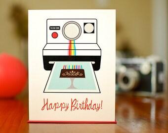 Vintage Instant Camera Birthday Card