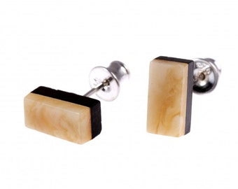 White Amber Wood Silver Earrings