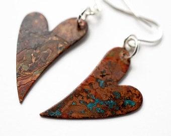 Mismatched Heart Earrings, Patina Earrings, Mixed Metal Earrings, Heart Jewelry, Mismatched Earrings, Turquoise copper, Sterling Earrings