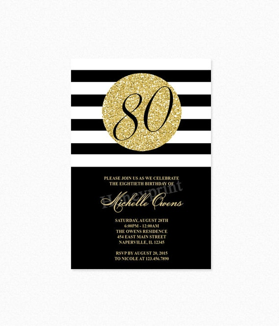 Gold 80th birthday party invitation black and white stripes filmwisefo Image collections