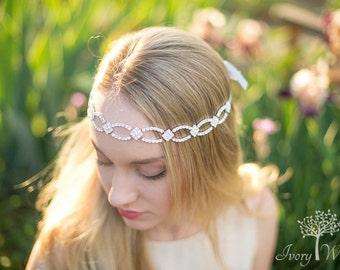 Silver Wedding Headband - Bridal Headband - Tieback Headband - Wedding Headband - Bridal Headpiece - Photo Prop - Wedding Accessory