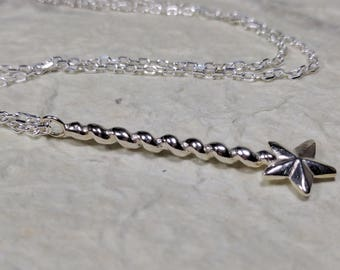 Magic Wand Pendant , Sterling Silver Necklace