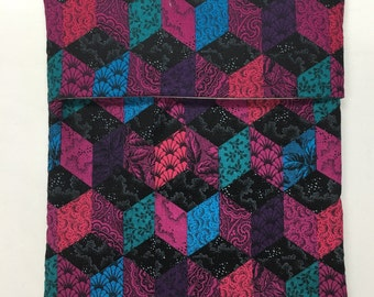 Potato Bag with geometric print in purple,  black, turquoise and magenta.