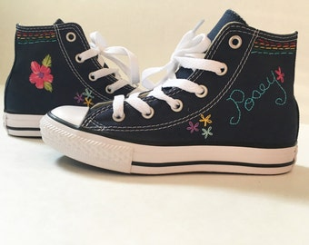 Hand embroidered converse/canvas shoes with name and floral or other accents(you provide shoes)
