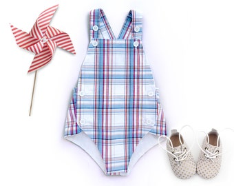 Fourth of July Baby Boy 4th of July Patriotic Baby Outfit Red White and Blue Boy Outfit Summer Romper Vintage Sunsuit Playsuit Toddler Boy