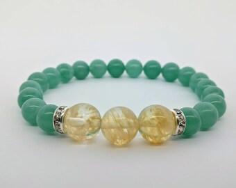 Citrine And Aventurine Bracelet Wealth Bracelet Prosperity Bracelet Green Aventurine Success Good Luck Bracelet Gift For Mom gift for artist