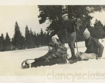 vintage photo snapshot 1938 Family on Toboggan snow Winter Sporty fun!
