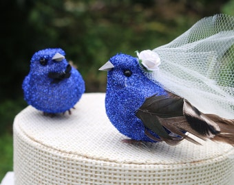 Bird Wedding Cake Topper in Royal Blue Tinsel: Bride & Groom Love Bird Cake Topper