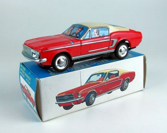 Vintage Tin B/O Ford Mustang GT Fastback by Daishin, Japan, 60's Old Store Stock