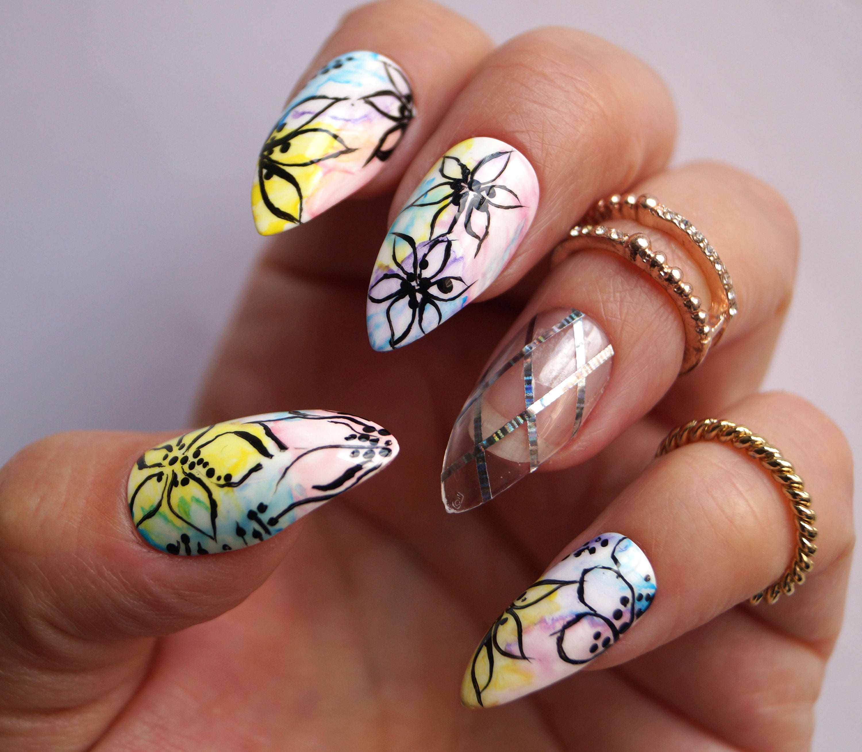 Floral Stiletto Nägel Nägel künstliche Nägel Kylie Jenner