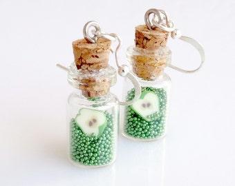 Mini Bottles-Green Apple Earrings, Fruit Earrings, Mini Glass Bottles, Candy Earrings, Bottle Earrings, Miniature Apples Earrings