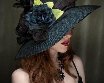 Black Straw Hat Kentucky Derby Hat