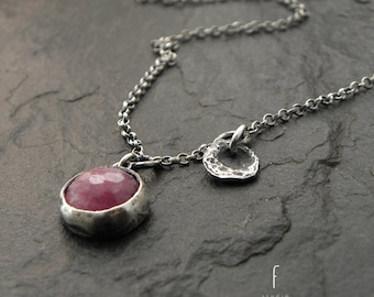 Oxidized sterling silver and ruby - delicate necklace