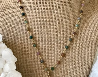 Gold Leaf Agate Necklace, Beaded Agate Necklace, Leaf Necklace