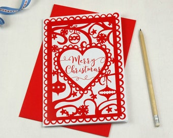 Merry Christmas Printed Card, Red Christmas Card for Girlfriend, Boyfriend, Husband, Wife, SKU_WP030