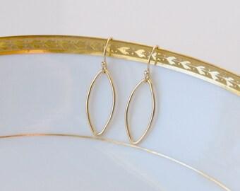 Gold earrings, gold hoops, minimalist gift for women, oval, thin, everyday earrings, hoop earrings, simple jewelry, littleglamour - Chloe