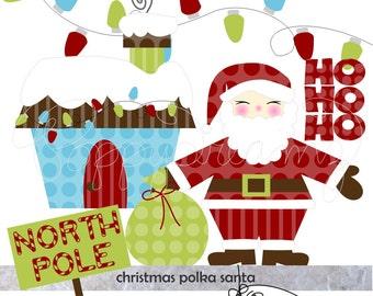 Christmas Polka Santa: Clip Art Pack (300 dpi) Digital Images (transparent png) Card Making Digital Scrapbook Santa North Pole Ho Ho Ho