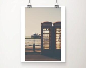 red telephone box photograph brighton photograph coastal wall art ocean photograph english decor telephone photograph