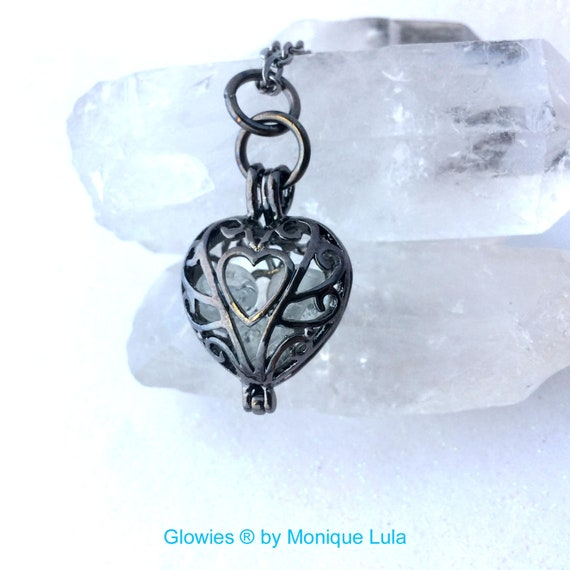Frozen Heart Galaxy Glowing Glass Necklace Gun Metal