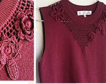 80s Autumn Winter Knit Top - Burgundy Red Sleeveless Sweater - Small Medium