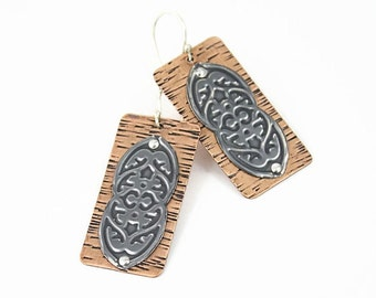 Copper Rectangle Earrings, Textured Sterling Silver Accent, Riveted, Handmade Earrings