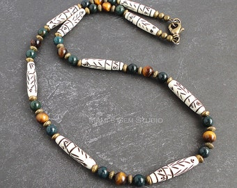 Tribal Inspired Handmade Necklace for Men   Beaded with Carved Bone, Bloodstone, Tiger Eye, Brass   Green, Brown Stone