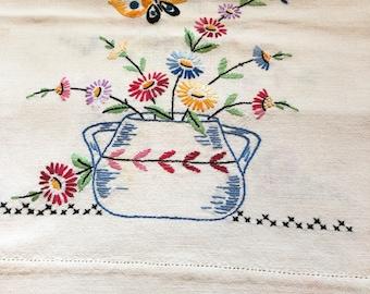 Nicely Done Embroidered Vintage Dresser Scarf or Table Runner