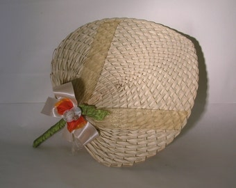 Beach Wedding + Straw Wedding Fan for Beach Weddings BLANK
