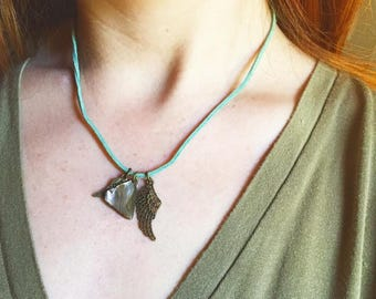 Bird Charm Necklace on Mint Green Suede