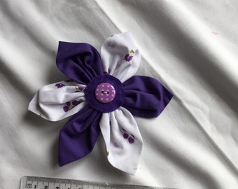Purple and white cotton brooch with button trim