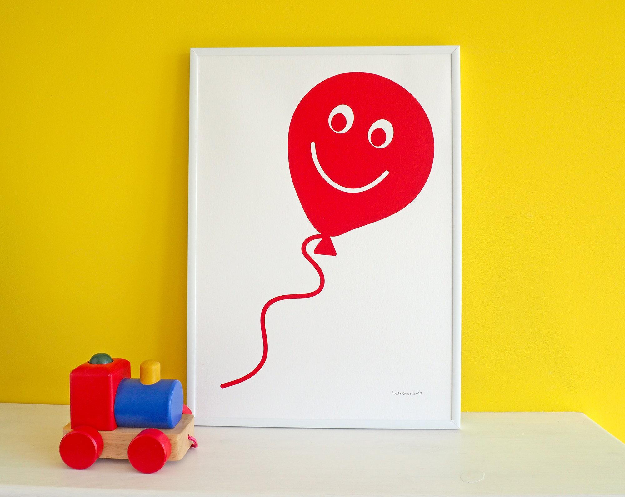 Red Balloon Screen Print Fun Nursery Art Print Balloon Kids