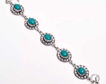 Vintage turquoise bracelet set in 925 sterling silver bracelet