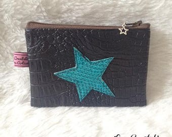 Chocolate brown faux leather wallet