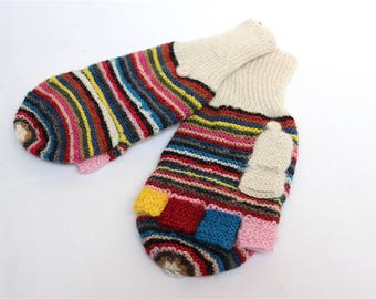 SALE 15% OFF* Pure Alpaca Hand Knitted Colorful wool Gloves, Convertible Mittens, Fingerless Gloves, Light and Warm