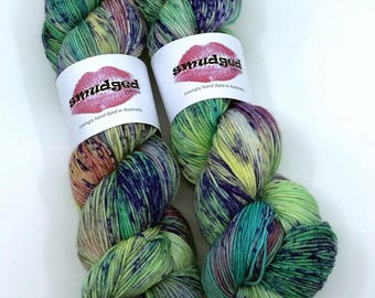 115g fingering weight sock yarn - Watercolour Iris