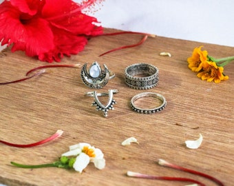 Bohemian Ring Set / Stackable Rings / Knuckle Rings