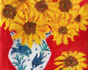 Sunflowers mini canvas art, acrylic painting, Easel. Sunflowers in blue and white vase, small sunflowers still life, sunflower decor