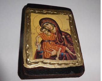 Vintage Religious Icon Wood Virgin Mary and Jesus. France