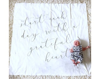 GRATEFUL HEART- swaddle blanket, baby gift, newborn photo prop, one month old, I'm new here, hello world black and white blanket