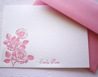 Personalized Letterpress Stationery Roses Pink Script Name