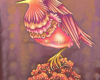 """Beautiful Bird 13 - an 8 x 10"""" ART PRINT of a pretty peach and orange songbird singing her heart and soul out on a puff of fluffy flowers"""