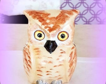 OWL brown beige on white Limoges porcelain hand painted