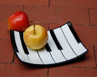 Fused glass art plate, piano or keyboard, half size