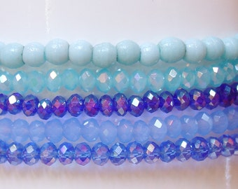 Set of Stacking Bracelets / Bracelet Set / 5 Stacking Bracelets / Blue / Blues / Crystal / Light Blue / Baby Blue / Periwinkle / Light Aqua