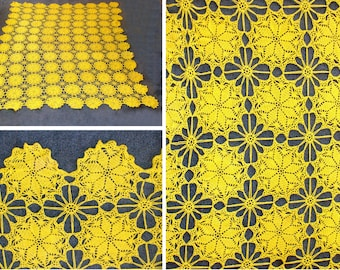 Fabulous vintage crochet table cloth-large yellow hand made tablecloth-rectangle 85 x 65 -old farm house french country -bedspread