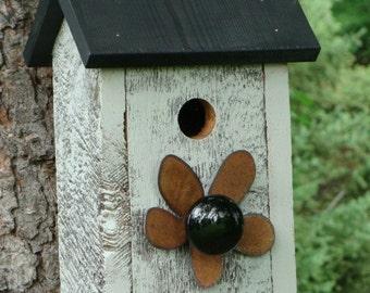 Outdoor Birdhouse, Functional Bird House, Rustic Birdhouse, Metal Flower Vintage Door Knob Gray and Black