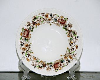 Johnson Brothers Windsor Ware Bowl, 8 Inch, Made in England, Floral, Fall Colors, Scalloped Rim, English Country, Flowers, 1930s - 1950s