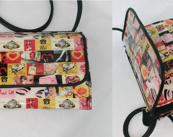 Printed Pin up small cross-body purse or Wallet Vinyl and Vegan Leather long strap Vintage