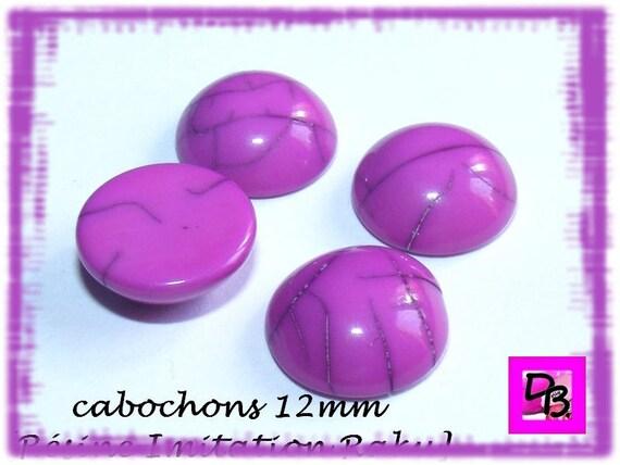 Cabochon résine [Fuchsia] 12 mm